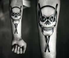 Kamil Czapiga: Tattoo 2013. Skull//Drumsticks