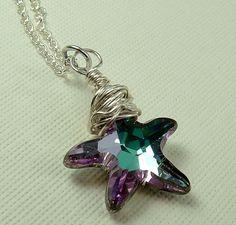 Swarovski starfish necklace , starfish jewelry , vitrail light starfish , beach jewelry , bridesmaid gifts. $20.00, via Etsy.