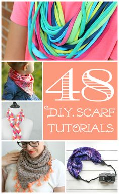 Thanks to Scarf Week 2015, here's a collection of 48 inspirational scarf tutorials and refashion ideas by 29 different bloggers.  You'll find everything from t-shirt scarves to dyed, painted, and stamped scarves to scarves for sewists to knitted and crocheted scarves to scarf refashions and upcycles!  Scarves are going to quickly become your new favorite accessory!  So dive right in!