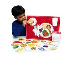 "Magnetic Healthy Foods 34 Pcs W/ Placemat, Set comes with 34 magnetic pieces, write-on/wipe-off magnetic placemat, menu pad and suggested activities. Magnetic placemat measures 12"" x 16.5""., www.HealthVG.com/diet-to-go"