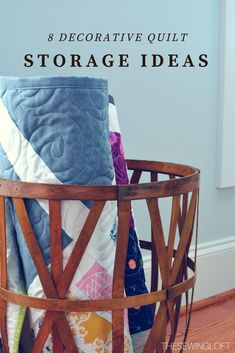 8 Decorative Quilt Storage Container - The Sewing Loft Quilt Storage, Craft Storage, Quilt Racks, Storage Ideas, Storage Container Homes, Storage Containers, Quilt Ladder, Wood Storage Sheds, Home Sew