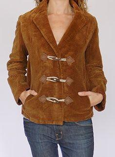 Vintage 1970s wooden toggle corduroy jacket @ www.secondhandnew.nl