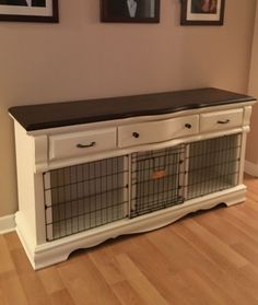 An old dresser I converted to Dog crate More