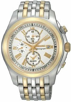 Men's Chronograph Alarm Light Silver Dial Two Tone Tone Stainless Steel   Your #1 Source for Watches and Accessories