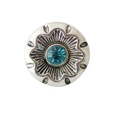 Chunk Snap Charm Petite 12mm Turquoise and Flower Border