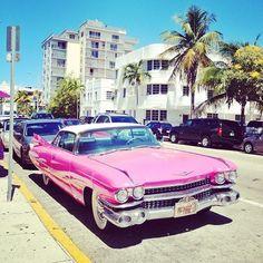 Retro pink cadillac in Miami, South Beach Miami, Miami Florida, South Florida, General Motors, My Dream Car, Dream Cars, Barbie Car, Malibu Barbie, Station Wagon