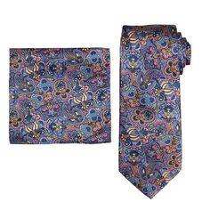 Men's Batik Bay Tie & Pocket Square, Med Pink