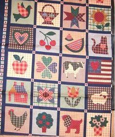 """COUNTRY PLAID FABRIC 20 QUILT SQUARES BLOCKS FABRIC PANEL 22"""" X 25"""" SEWING QUILTING"""