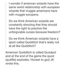 From @catching_fourtris_potter on ig Harry Potter American + European wizards