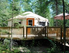 Secluded forest retreat offering unique yurt accommodation close to the beaches of Emma Lake and Christopher Lake Saskatchewan. Surrounded by thirty acres of forest, a small lake and organic gardens. Fully furnished, self-contained luxury lodging. Luxury Yurt, Great Places, Places To Go, Yurt Living, Tiny Living, Go Glamping, Camping, Small Lake, Le Far West