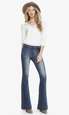 ED Express Women Ripped Wide Flared Jeans