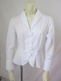 Anne Fontaine Fleur Popeline White Cotton French Cuff Button Front Shirt 38 #AnneFontaine #Blouse #Career