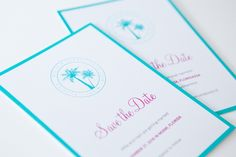 MakeaDesign Save the Date -kortit / custom made save the date cards from makeadesign.fi / florida wedding beach turquoise pink