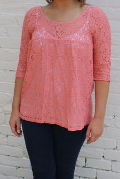 Dreaming of Lace Blouse- Coral $32