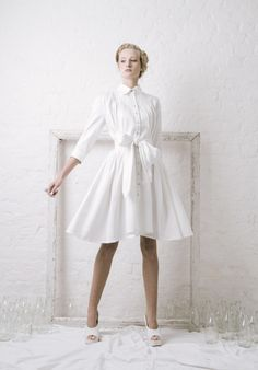 Outsider White Shirt Dress with Obi belt