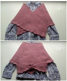 PATRÓN PARA TEJER UNA TOQUILLA DE NESKA. Basic knitting shawl pattern in spanish. Knitting For Kids, Crochet For Kids, Baby Knitting, Crochet Baby, Knitting Stiches, Knitting Patterns Free, Knit Patterns, Chat Crochet, Knitted Shawls