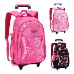 cb00f11030 Trolley Children School Bags for Girls Backpack Wheeled Kids Schoolbag  Student Bags Travel Luggage Suitcase Rolling