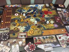 Scythe - a complicated engine-building boardgame set in Eastern Europa.  Five factions conquer territories, recruit workers, and build mechs.  Took a while to learn but it's complex and interesting!