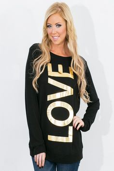 Blingin' Love Top Women's Clothing Gold Love Top Valentine's Day Outfit Love Shirt Winter Fashion Spring Fashion Forever Fab Boutique Outfit Ideas Outfit Inspiration #shop #fashion