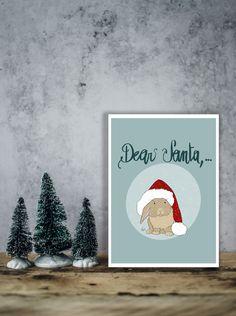 """Biglietto di Natale da scaricare con coniglietto natalizio e la scritta """"Dear Santa,.."""", letterina a Babbo Natale. Cartolina e biglietto. di IlluminoHomeIdeas su Etsy Christmas Bunny, Christmas Wishes, Dear Santa, Online Printing, Christmas Decorations, Greeting Cards, Packaging, Etsy, Prints"""