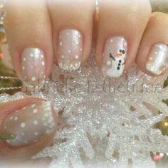Winter Nail Art with snowman // Nail Art hiver avec bonhomme de neige