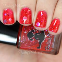 Dollish Polish You Sit On A Throne Of Lies | Holiday 2014 Elf Collection | Peachy Polish #red glitter