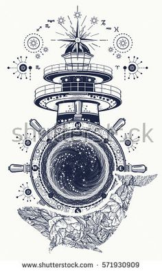 Lighthouse and floral whale tattoo art. Mystical symbol of adventure, dreams. Lighthouse, steering wheel and Whale t-shirt design. Travel, adventure, outdoors symbol, marine tattoo