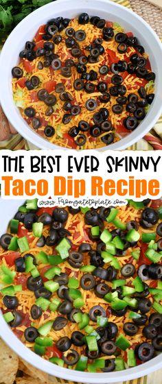Skinny Taco Dip, Skinny Meals, Skinny Recipes, Dip Recipes, Dinner Recipes, Easy Recipes, Super Bowl Menu, Mild Salsa, Weight Watchers Snacks