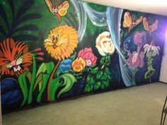 Alice in Wonderland talking flowers. Nursery wall mural. Done with spray paint by Nicholas Warren, Concord, CA.