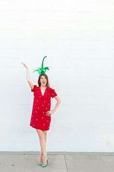 Strawberry costume. Use red dress, cut out white seeds from printer paper and glue all over the dress. Finally, take green constuction paper and make stem. So cute and easy!