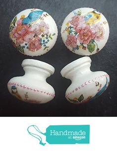 Set of 4 Hand Decorated Flowers and Birds Vintage Style Shabby Chic Drawer Knobs Pulls from Offbeat Chic https://www.amazon.co.uk/dp/B01MR5EMBB/ref=hnd_sw_r_pi_dp_QjkEyb5JSWMR5 #handmadeatamazon