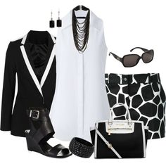 Giraffe B&W, created by maggie478 on Polyvore