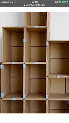 Easy to modulate and cheap Cardboard Box Storage, Diy Cardboard Furniture, Diy Storage Boxes, Cardboard Box Crafts, Fabric Storage, Diy Furniture, Cardboard Organizer, Cardboard Playhouse, Fireplace Furniture
