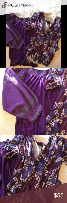 Free People purple top bundle 2 gorgeous adorable tops from FP. Both listed separately in my closet. So read all details there. Both size small. The peasant top is he most beautiful shade of purple with stitching. Second one is NWOT. So flattering & sexy.  Both are listed separately in my closet so you can see more pics & read all he details there. Free People Tops Blouses