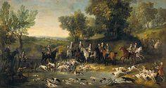 OUDRY Jean-Baptiste_Louis_XV_chassant_le_cerf_dans_la_forêt_de_Saint-Germain 1730 huile sur toile 390x210cm
