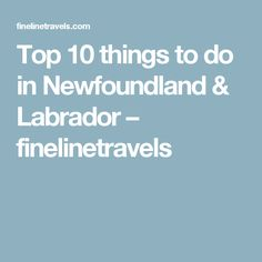 Top 10 things to do in Newfoundland & Labrador – finelinetravels