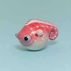 Strawberry Sea Horse Fish Figurine Animal Totem OOAK Handmade