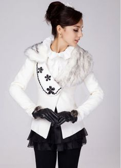 Pure Solid White Faux Fur Collar Bejeweled Winter Coats with cheap wholesale price, buy Pure Solid White Faux Fur Collar Bejeweled Winter Coats at wholesaleitonline.com !
