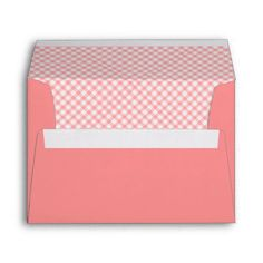 Coral Pink Plaid Envelopes
