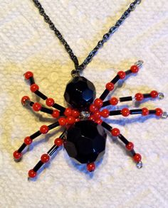 Items similar to Halloween Black Widow Spider Necklace on Etsy Halloween Jewelry, Halloween Diy, Spider Queen, Black Widow Spider, Jewelry Ideas, Unique Jewelry, Jewlery, Beading, Corner