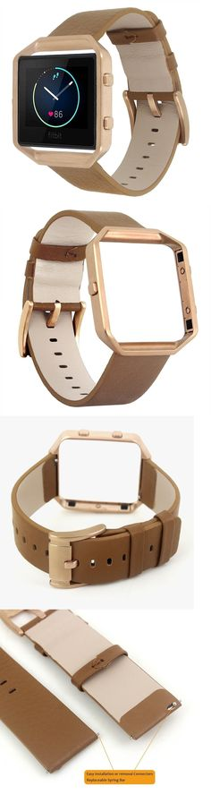 Fit Tech Parts and Accessories 179799: Fitbit Blaze Leather Camel Band Steel Replacement Wristband Rose Gold Large New -> BUY IT NOW ONLY: $34.99 on eBay!