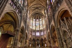 East end of the Basilica Church of Saint-Denis. East end of the Basilica Church of Saint-Denis Gothic Interior, Classic Interior, Basilica Of St Denis, Gothic Revival Architecture, Architecture Design, Gothic Buildings, Medieval Tapestry, Early Middle Ages, Romanesque