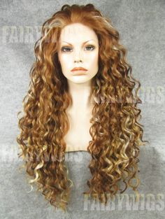 Glitter Long Brown Female Curly Lace Front Hair Wig 22 Inch