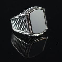 GENTLEMAN ! TURKISH HANDMADE ONYX STERLING SILVER 925K MEN'S RING SIZE 12 | Jewelry & Watches, Men's Jewelry, Rings | eBay!
