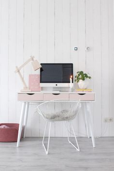 Home Office, Office Desk, Living Room Decor, Living Spaces, Interior Styling, Mid-century Modern, Chair, House, Furniture