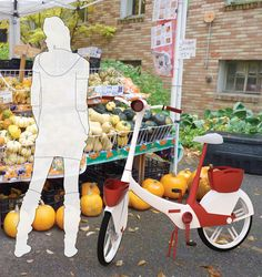 mini (city) folding bike with baskets and electric power assistance, targeted for women riders