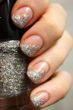 side swipe glitter mani // super easy with tape... you could do this with so much more than just glitter