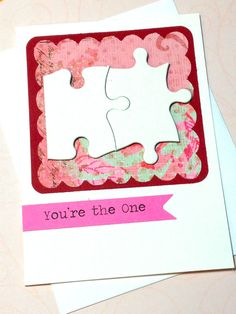 Valentine's Day Card, Be My Valentine, Wedding Card, Perfect Match, Anniversary Card, You're The One Jigsaw Puzzle Anniversary Love Card