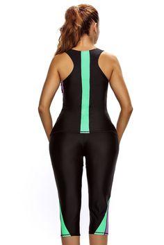 Her Trendy 2pcs Active Bathing Suit Seaside Wetsuit Swimwear – HisandHerFashion.com Black Tankini, Swim Top, Swimsuits, Swimwear, How To Run Longer, Cropped Pants, Wetsuit, Bathing Suits, Seaside