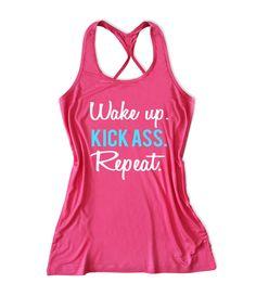 Wake up kick ass repeat Women's Fitness Tank Top -X 649